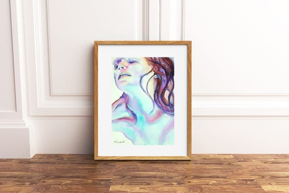 Woman face, original watercolor by Francesca Licchelli, giclée fine art print, home decore idea, modern decoration, wall contemporary art.