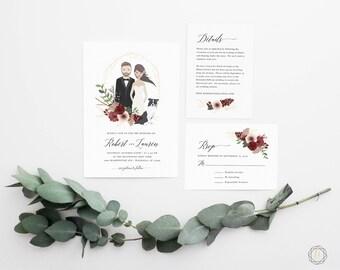 Illustrated Wedding Invitation, Custom Wedding Invitation, Custom Illustration, Printable Wedding Invitation, Wedding Invitation Set, #IBP