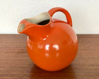 RumRill By Red Wing Orange Art Pottery Tilt Ball Pitcher