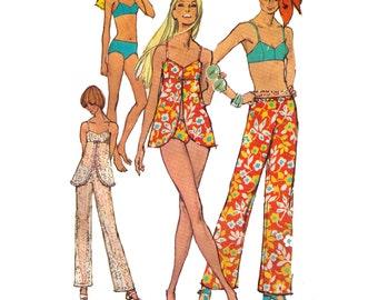 "Simplicity 8795, 70s sewing pattern, size 14 bust 36"" waist 27"" women's bikini pattern, hip hugger pants, cover up pattern"