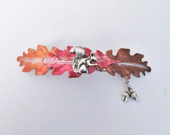 Squirrel  Hair Barrette with fall leaves, large