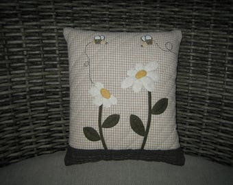 Quilted Cushions, Quilted Pillows, Cushions, Pillows, Gifts for Girls, Gifts for Her- Daisies and Bees Cushion