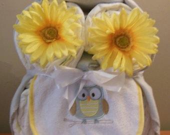 Owl Diaper Cake, Owl Baby Shower Ideas, Owl Baby Shower, Baby Owl Diaper Cake