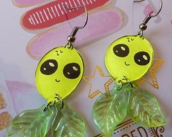 Kawaii crazy shrink plastic earrings Platinum lemon yellow metal face painted by hand and leaves