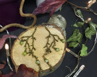 Jade & Pine Branch - green jade bead natural - forest - tauriel - tolkien Elf - wicca - - branch - tree earrings