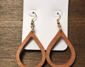 Teardrop Earrings - Raindrop Earrings - Dangle Earrings - Drop Earrings - Girlfriend Gifts - Gifts for Her - Boho Jewelry - Reclaimed Wood