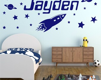 ROCKET Personalised ANY NAME Space Planet Universe Stars Boys Childrens Bedroom Decor Matt Vinyl Wall Art Sticker Decal 20 colours / 3 Sizes