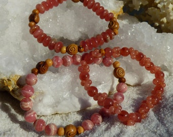 3 style of Inca rose Authentic Argentina Rhodochrosite Bracelet/Mala healing stones/Olive wood beads/love/Rondelle Gems Beads bracelets/root