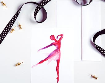 Ballet Dancer Print, Small Art Print, Greeting Card, Red and Purple, Dance Print, Watercolor Print, Home Decor, Gifts for Her, Dancer Gift