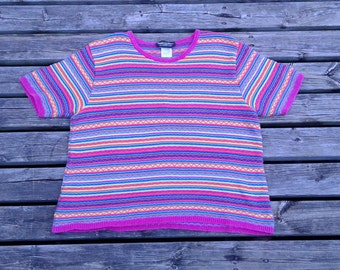 Vintage 80's PARKHURST Abstract Rainbow Women's Knit Short Sleeved Sweater Shirt Made in Canada Large