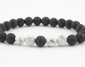 Essential oil bracelet, oil diffuser bracelet, lava bead bracelet, white howlite, oil diffuser, stretch bracelet, yoga bracelet, jewelry