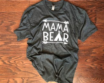 Mama Bear - Mom Life - Graphic Tee - Matching Set - Unisex Fit - T-Shirt