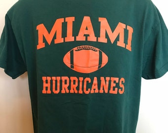 90s Miami Hurricanes Shirt Vintage Tee College Football Florida Foot Locker Team Apparel Turn Over Chain Ncaa Playoffs Rare Retro Logo Large