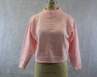 80's Pink Cropped Floral Mock Turtleneck Size Medium | Slouchy Over sized | Pull Over | Jumper | Roses