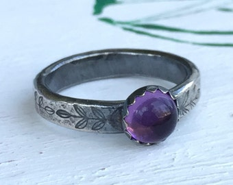 Amethyst Ring - For Women - Purple Ring - Gemstone Stacking Ring - February Birthstone Ring - Gift For Her - Crystal Ring - Purple