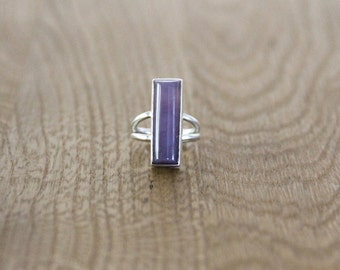 Purple Chalcedony and sterling silver ring