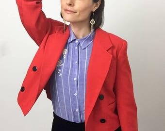 Blazer, Red, Trending Now, Trends, Blazer Women, Red Coat Women, Cropped Jacket, Cropped Blazer, Double Breasted Jacket, 90s Clothing Women