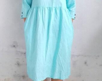 Linen Dress / Relax Linen Dress in Sky Blue