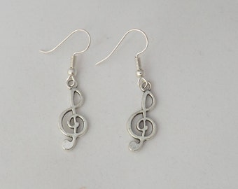 Treble clef earrings, musical note earrings, gift for her, stocking filler, sterling silver earrings, music student or teacher gift