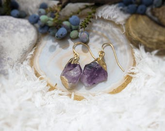 Earrings with lilac crystal