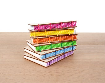 A6 Wood Cover Coptic Stitch Notebook, Journal, Colorful, Inspirational, Washi Tape