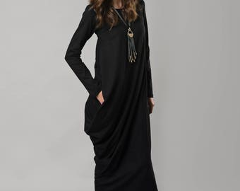 Black Maxi Dress, Asymmetric Dress, Long Sleeve Dress, Gothic Dress, Plus Size Maxi Dress, Women Black Dress, Cotton Dress, Oversized Dress