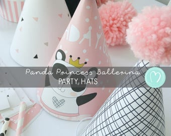 INSTANT DOWNLOAD/ Panda Girl Birthday Party Hats/Printable Party Hats/Pink/Ballerina Princess/DIY Party Decor/Digital File/Instant Download
