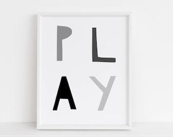 Play Print, Playroom Print, Black and White Nursery