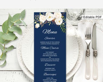 Wedding Menu Template, Navy Floral Wedding Menu Card, Wedding Menu Printable, Boho Chic, Navy and White A051, Instant Download, Editable PDF