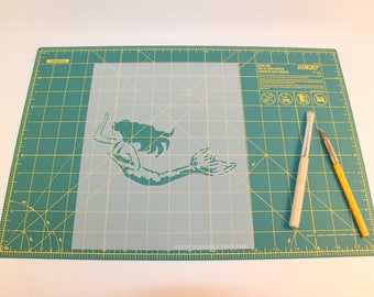 Mermaid Stencil - Reusable DIY Craft Stencils of a Mermaid - Hand Drawn Design!