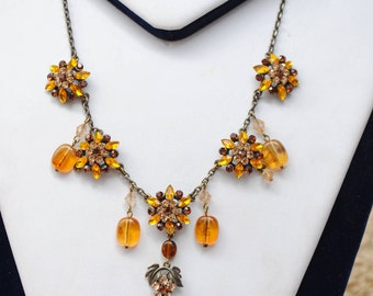 Vintage necklace - boho - orange and Brown - rhinestones and pearls - vintage - women necklace jewelry - party