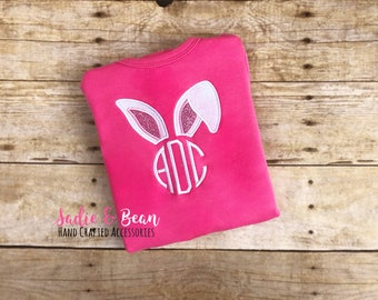 Monogrammed Easter shirt, Personalized Shirt, Girls Easter Shirt, Easter Shirt, Monogrammed Bunny Shirt, Easter Bodysuit, Toddler, Baby
