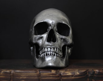 Mr. Silver -  Distressed Chrome Full Scale Life Size Realistic Faux Human Painted Skull Replica with Removable Jaw / Art / Ornament / Decor