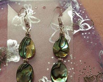 Abalone shell earrings, abalone earrings, silver, everyday jewelry