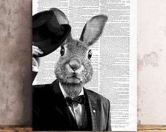 Magician Bunny, BUNNY RABBIT Art Print , Bunny Art Print wall art, vintage dictionary page book art print, Magician