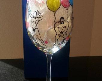birthday wine glass funny hand painted handpainted glasses birthday gift for girl 21 striptease balloons personalized custom bachelorette