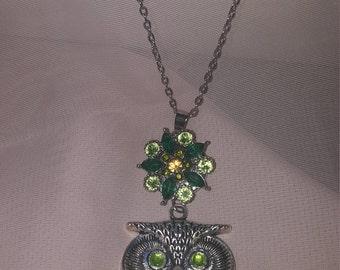 Rhinestone Snap Flower charm OWL Green crystal jewel eyes long chain necklace