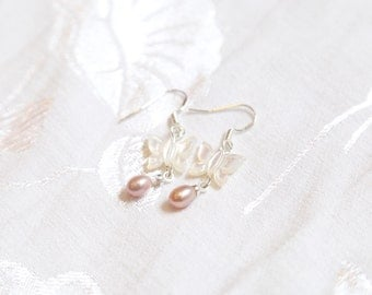 Peal and Mother of Pearl Butterfly Earrings