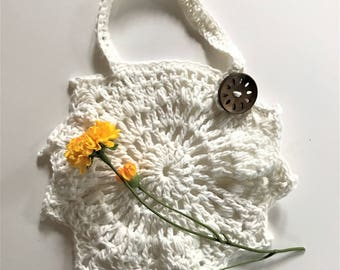 Crochet Baby Dribble Bib - White