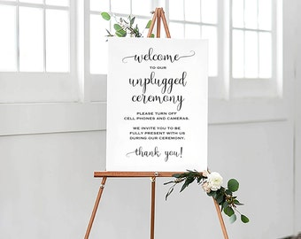 Printable Wedding Sign, Unplugged Wedding Sign, Minimalist Wedding Sign, Unplugged Ceremony Sign, Calligraphy Sign, Modern Wedding Sign