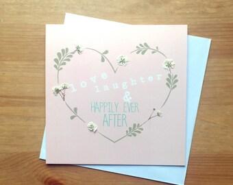 "pressed flower card - ""Happily Ever After""  - wedding card - bridal shower card - engagement card"