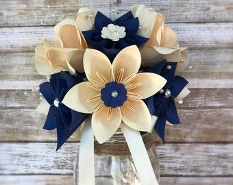 Navy Paper Flower Wedding Bouquet - Paper Flower Wedding Bouquet - Navy and Ivory Bridal Bouquet - Ivory Paper Flower Bouquet