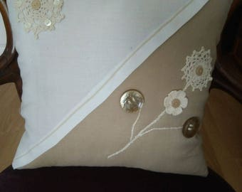Hand Made Cushion Cover with Crochet and Button Detail