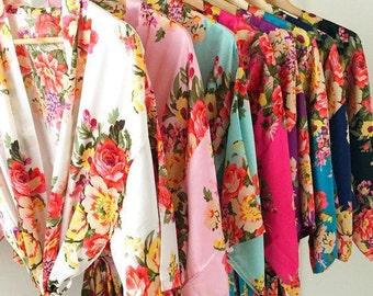 bridesmaid robes, floral bridal robes , bridesmaid kimono robes, satin bridesmaid robes , bridesmaid gift , bridal party robe