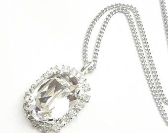 Crystal bridal pendant necklace Drop pendant Wedding crystal necklace Crystal jewelry Bridal Swarovski crystal pendant Crystal pear pendant