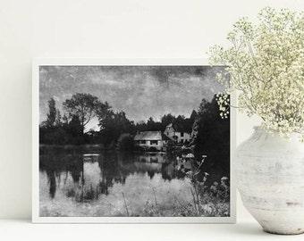 Gray decor, Village landscape, Cottage wall decor, A3 printable art, Download photo, Black and white Vintage style decor, Wall art decors