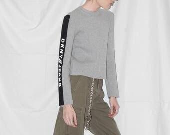 Vintage 90s DKNY Jeans Heather Grey / Black Panel Sweater Top / sz S