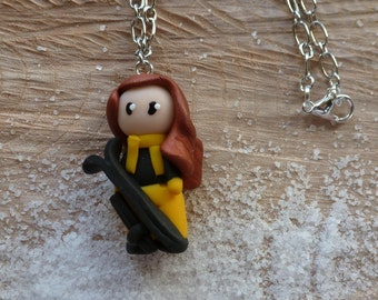 Necklace skier doll yellow polymer clay black snow holiday gift birthday girl