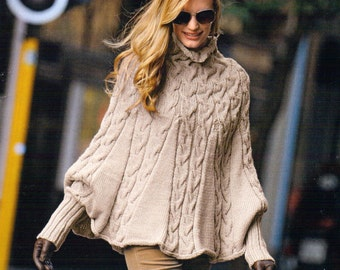 Aran Cable Poncho High Collar & Cuffs - S/M M/L Knitting Pattern Womans Ladies Aran Cable Jacket Knitting patterns PDF Instant Download