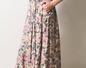 Chintzy floral long pleated skirt // pink rose pattern // button up front and side pockets // mother of pearl buttons
